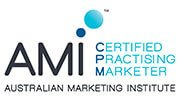 Australian Institute of Marketing Logo Blue and White