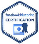 Facebook Blueprint Certification Stamp Navy Blue and Light Blue