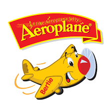 Aeroplane Logo White background with yellow plane and red banner with yellow font