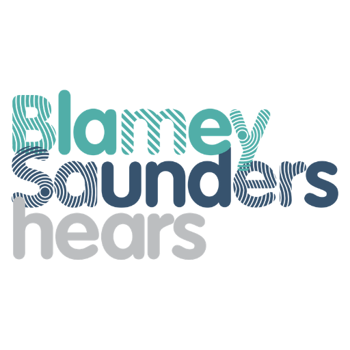 Blamey Saunders Hears logo with teal, navy and grey font