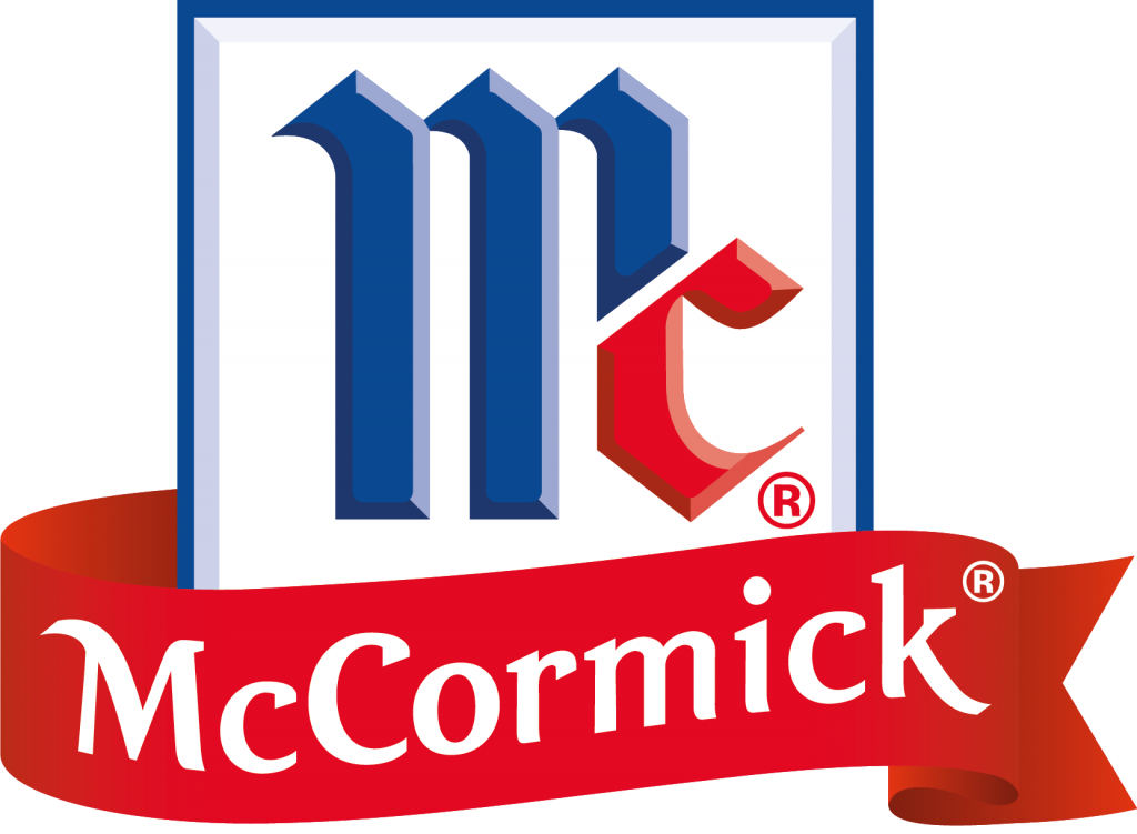 McCormick Foods logo blue, red, white