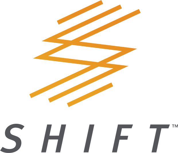 SHIFT Logo orange icon with grey font