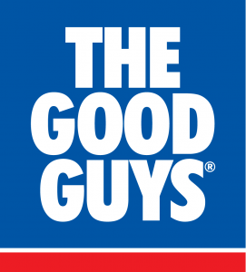 The Good Guys Stacked Logo Blue, White and Red