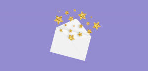 Contact us graphic of envelope with gold stars and purple background